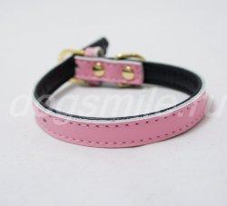 Розовый кожаный ошейник для собак