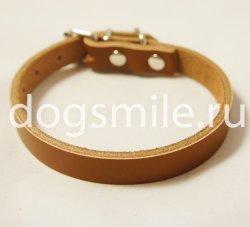 Коричневый кожаный ошейник для собак