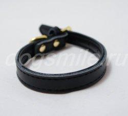 Черный кожаный ошейник для собак